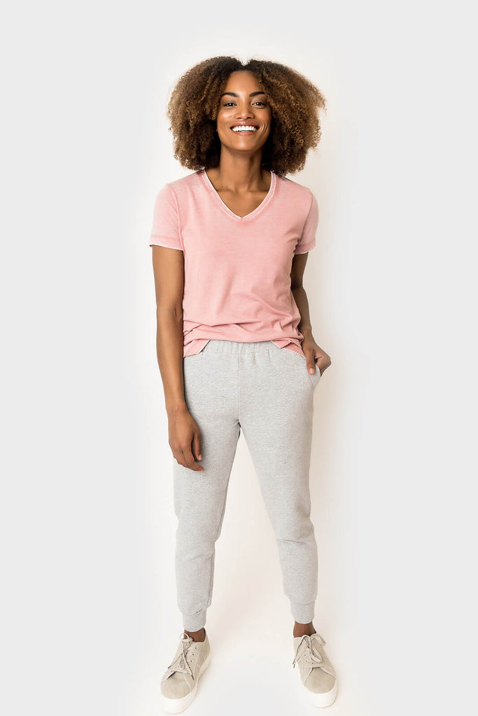 women wearing From A Distance Cozy Pocket Jogger in heather grey