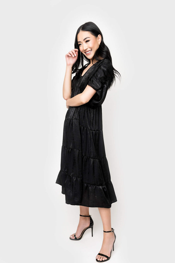 Women wearing Shirred Tiered Midi Dress in Black