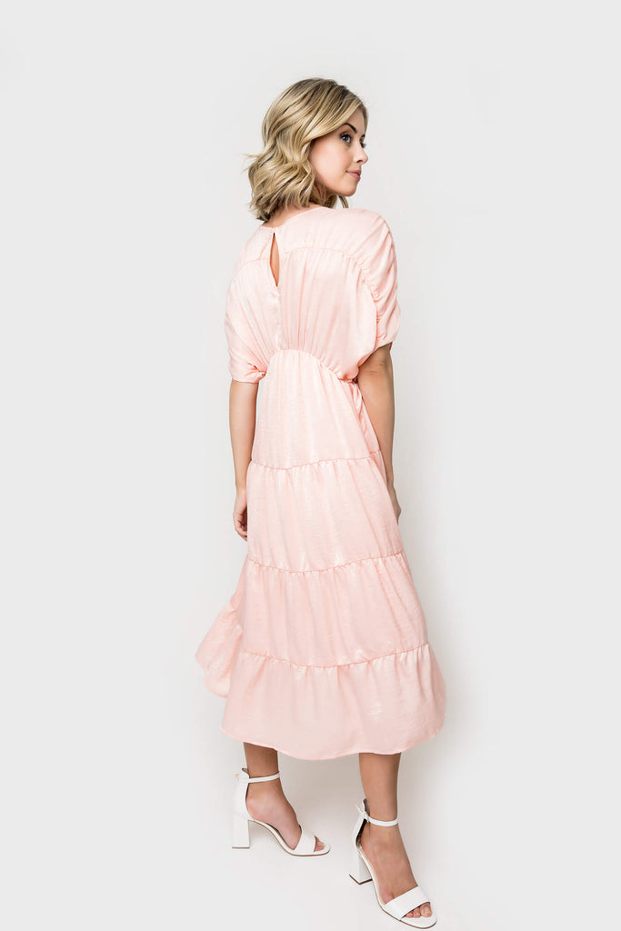 Women wearing Shirred Tiered Midi Dress in Dusty pink