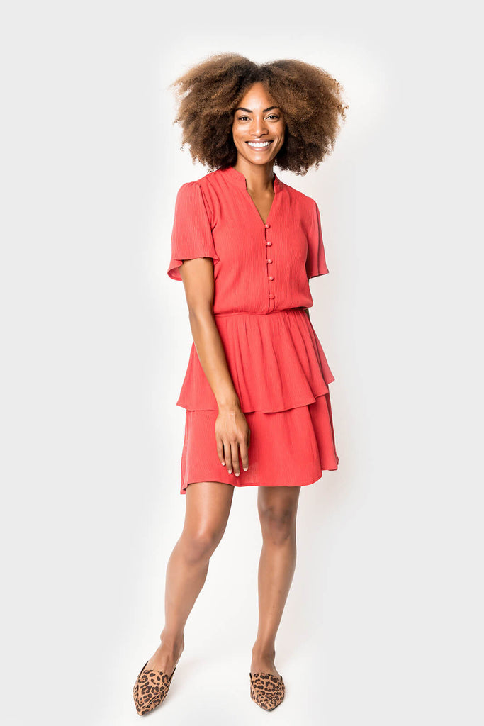 Women wearing Button Front Tiered Dress in Red