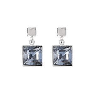 Coeur De Lion Square Earrings With Swarovski Crystal Grey