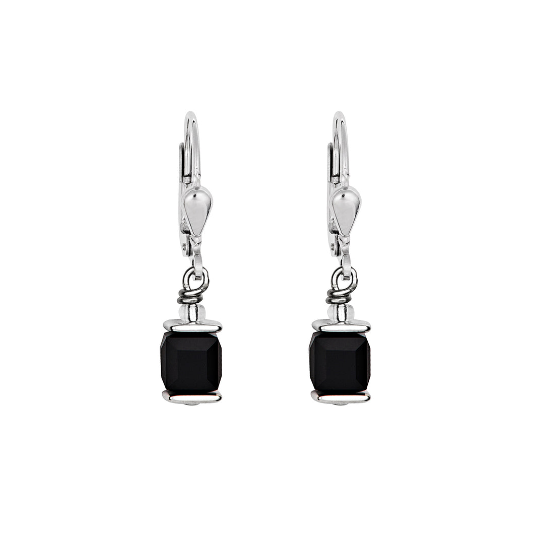 Coeur De Lion Earrings Swarovski Crystals GeoCUBE - Black