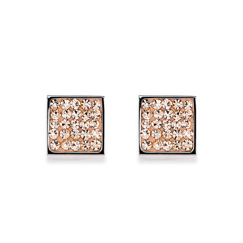 Coeur De Lion Square Stud Earrings Pavé - Peach