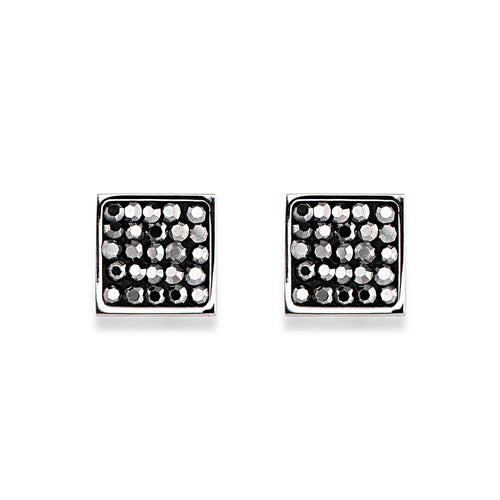 Coeur De Lion Square Stud Earrings Pavé - Anthracite