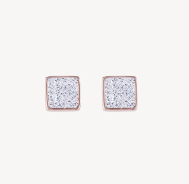 Coeur De Lion Square Stud Rose Gold Earrings Pavé - Crystal