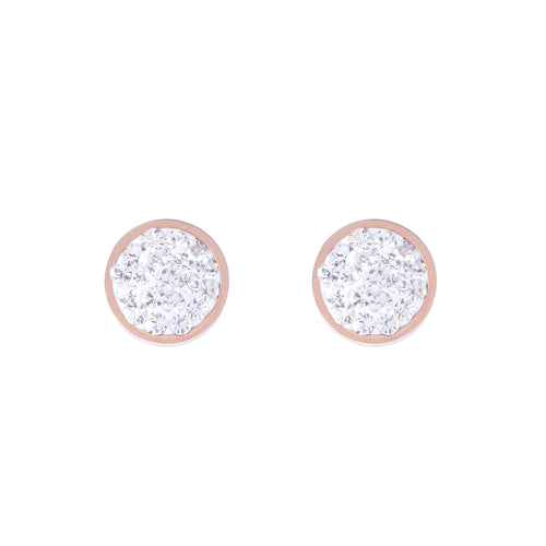 Coeur De Lion Pavé Crystals Round Rose Gold Studs - Crystal