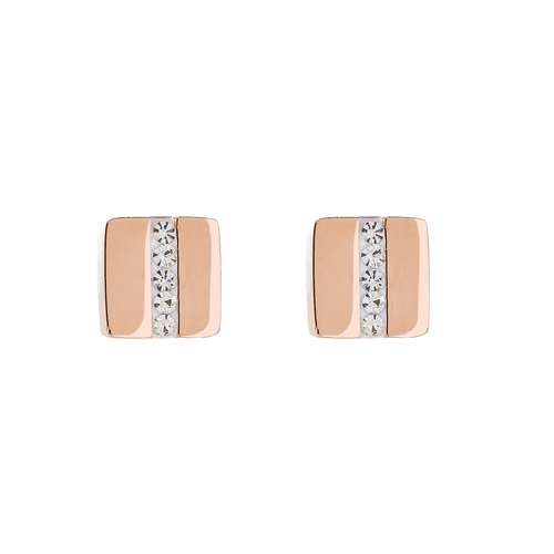 Coeur De Lion Earrings Stainless Steel Square Rose Gold & Crystal Pavé Strip