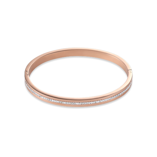 Coeur De Lion Bangle Stainless Steel Rose Gold & Crystals Pavé Strip