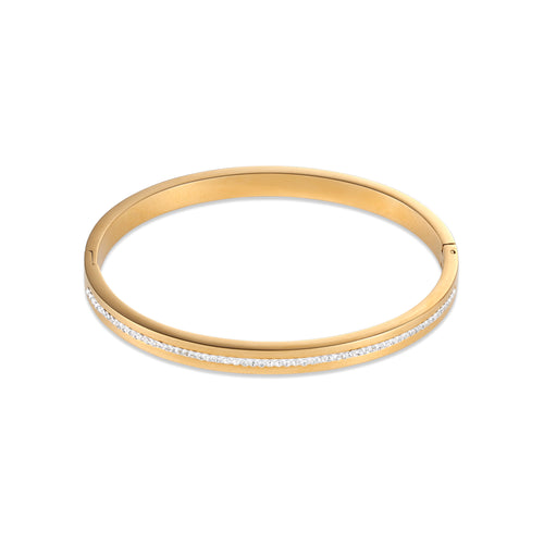 Coeur De Lion Bangle stainless steel gold & crystals pavé strip crystal