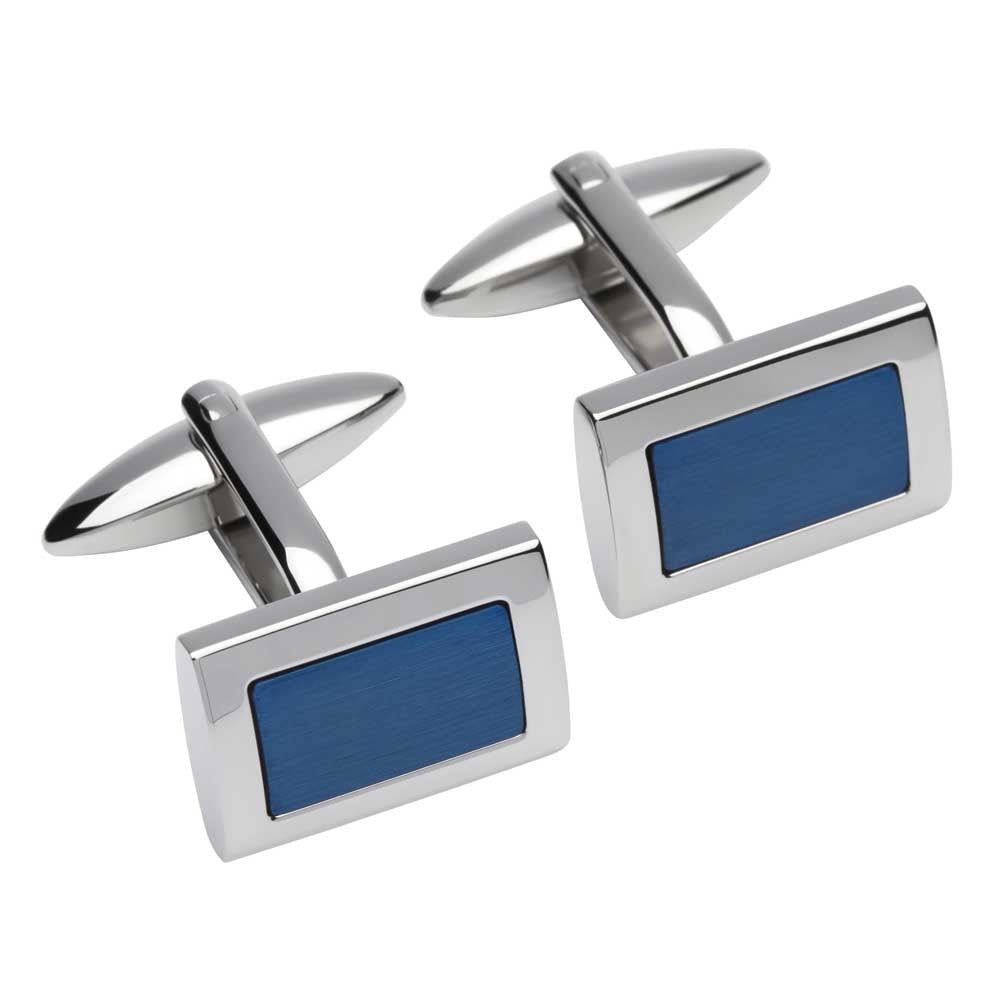 Unique Stainless Steel Blue IP Plating Cufflinks