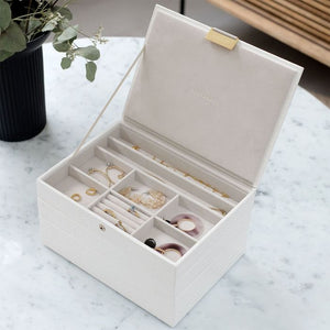 Stackers Dusky Chalk White Croc Classic Jewellery Box - Free Delivery
