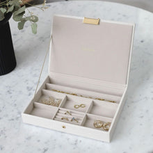 Load image into Gallery viewer, Stackers Chalk White Croc Lidded Jewellery Tray
