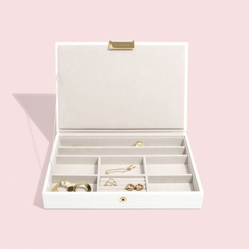 Stackers Chalk White Croc Lidded Jewellery Tray