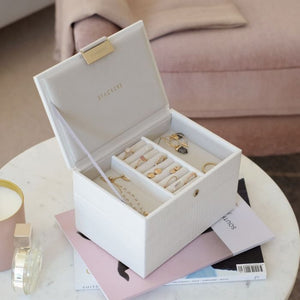 Stackers White Croc Mini Jewellery Box - Free Delivery