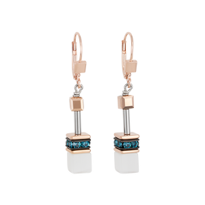 Coeur De Lion GeoCUBE Earrings Rose Gold, White & Petrol