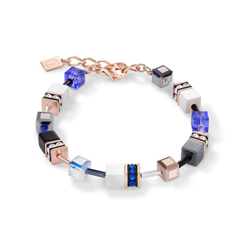 Coeur De Lion GeoCUBE® Bracelet Rose Gold, White & Blue