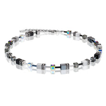 Load image into Gallery viewer, Coeur De Lion GeoCUBE Necklace Black & White - Haematite