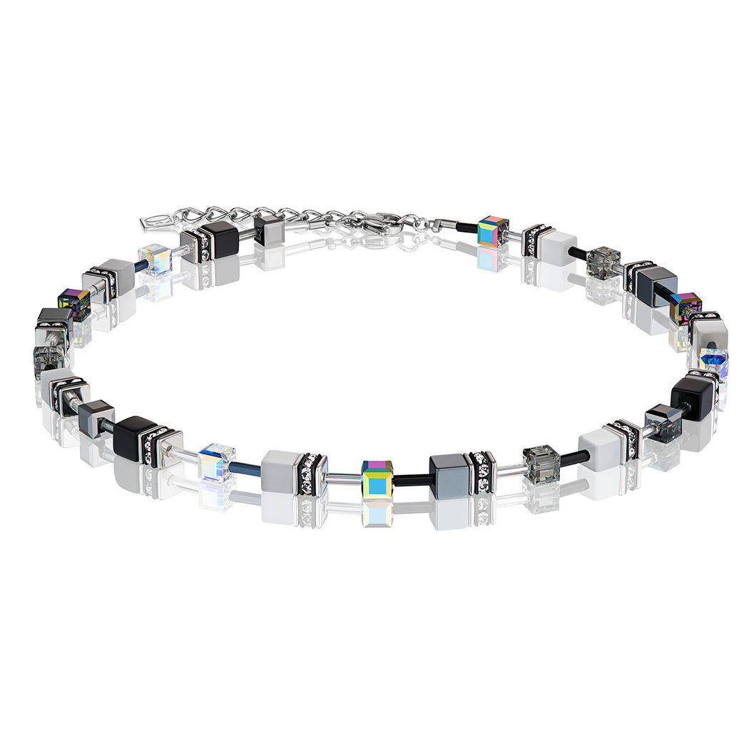 Coeur De Lion GeoCUBE Necklace Black & White - Haematite