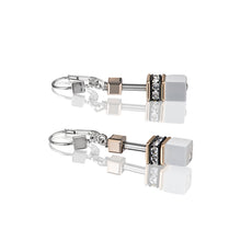 Load image into Gallery viewer, Coeur De Lion GeoCUBE Earrings Rose Gold - White