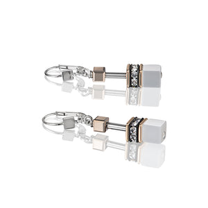 Coeur De Lion GeoCUBE Earrings Rose Gold - White