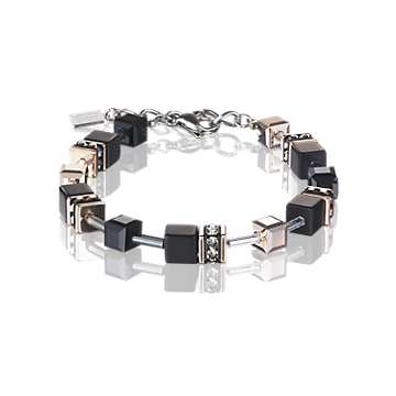 Coeur De Lion GeoCUBE Bracelet Onyx Black-Rose Gold