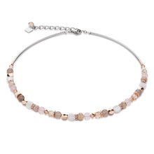 Load image into Gallery viewer, Coeur De Lion Necklace Mother of Pearl, Rose Quartz & Agate Beige - Rose