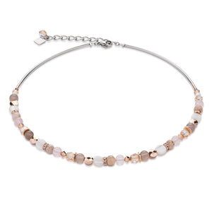 Coeur De Lion Necklace Mother of Pearl, Rose Quartz & Agate Beige - Rose