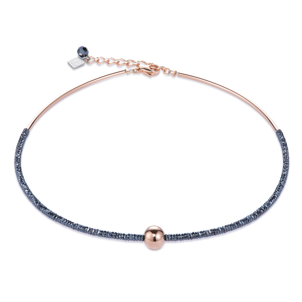 Coeur De Lion Necklace Haematite & Stainless Steel - Rose Gold