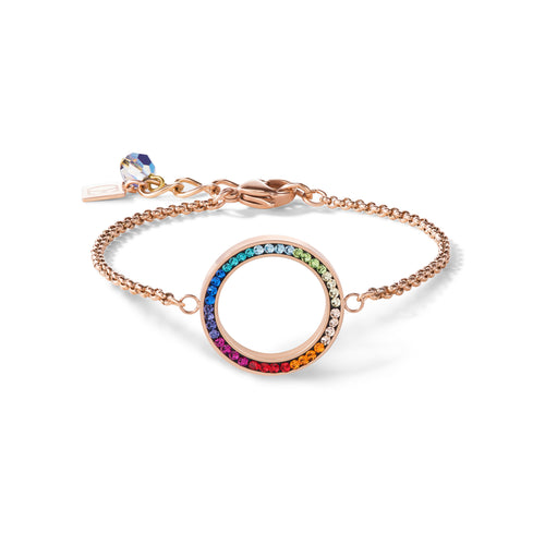 Coeur De Lion Bracelet Ring Crystals Pavé & Stainless Steel Rose Gold & Multicolour