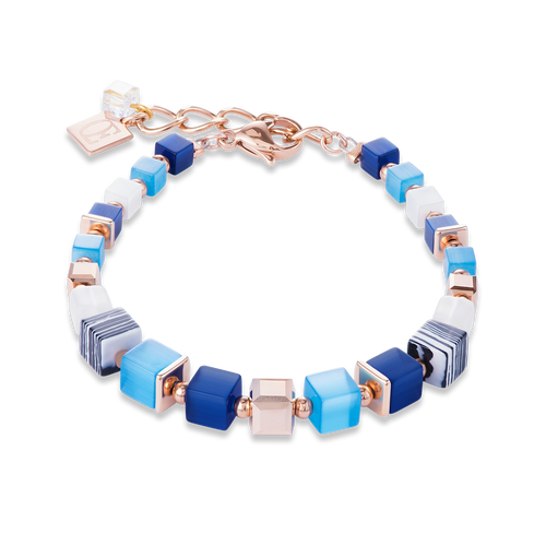 Coeur De Lion GeoCUBE Bracelet Synthetique Malachite & Swarovski Crystals Blue-Turquoise