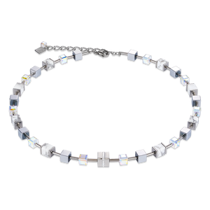 Coeur De Lion GeoCUBE Necklace Stainless Steel & Crystals Pavé & Howlite Silver-White