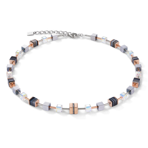 Coeur De Lion Necklace GeoCUBE® Stainless Steel & Crystals Pavé, Banded Onyx Rose Gold-black