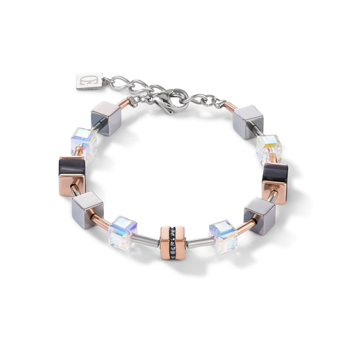 Coeur De Lion Bracelet GeoCUBE Stainless Steel & Crystals Pave, Banded Onyx Rose Gold-black