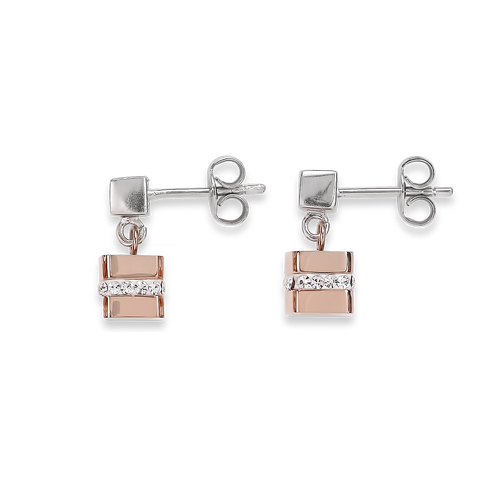 Coeur De Lion Earrings Cube Stainless Steel Rose Gold & Crystals Short