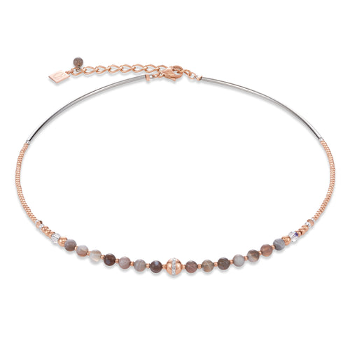 Coeur De Lion Necklace Ball Botswana agate & stainless steel rose gold beige-grey
