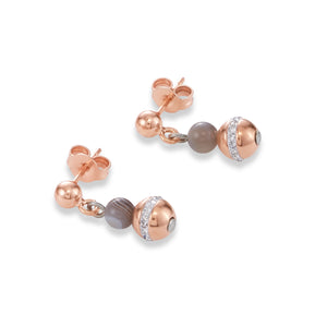 Coeur De Lion Earrings Ball Botswana agate & stainless steel rose gold beige-grey