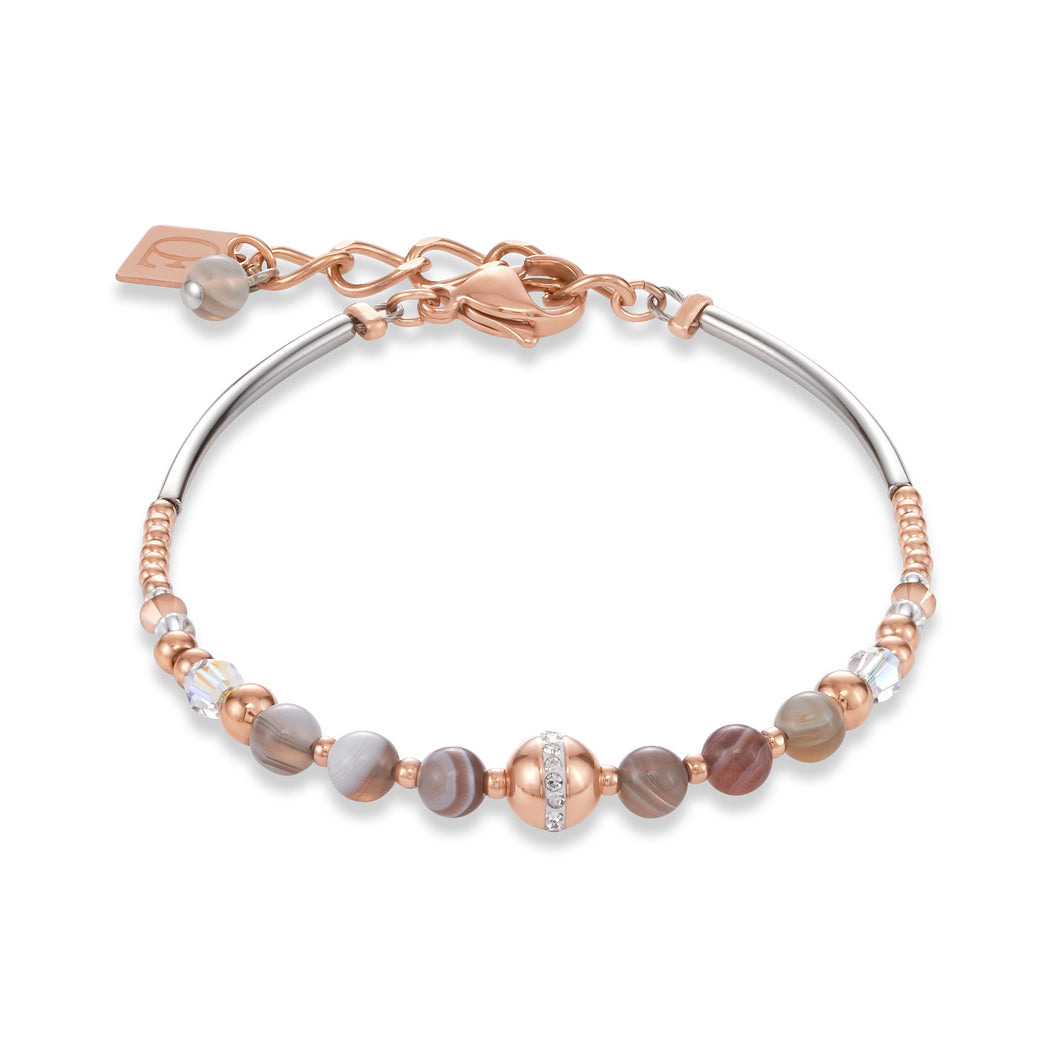 Coeur De Lion Bracelet Ball Botswana agate & stainless steel rose gold beige-grey