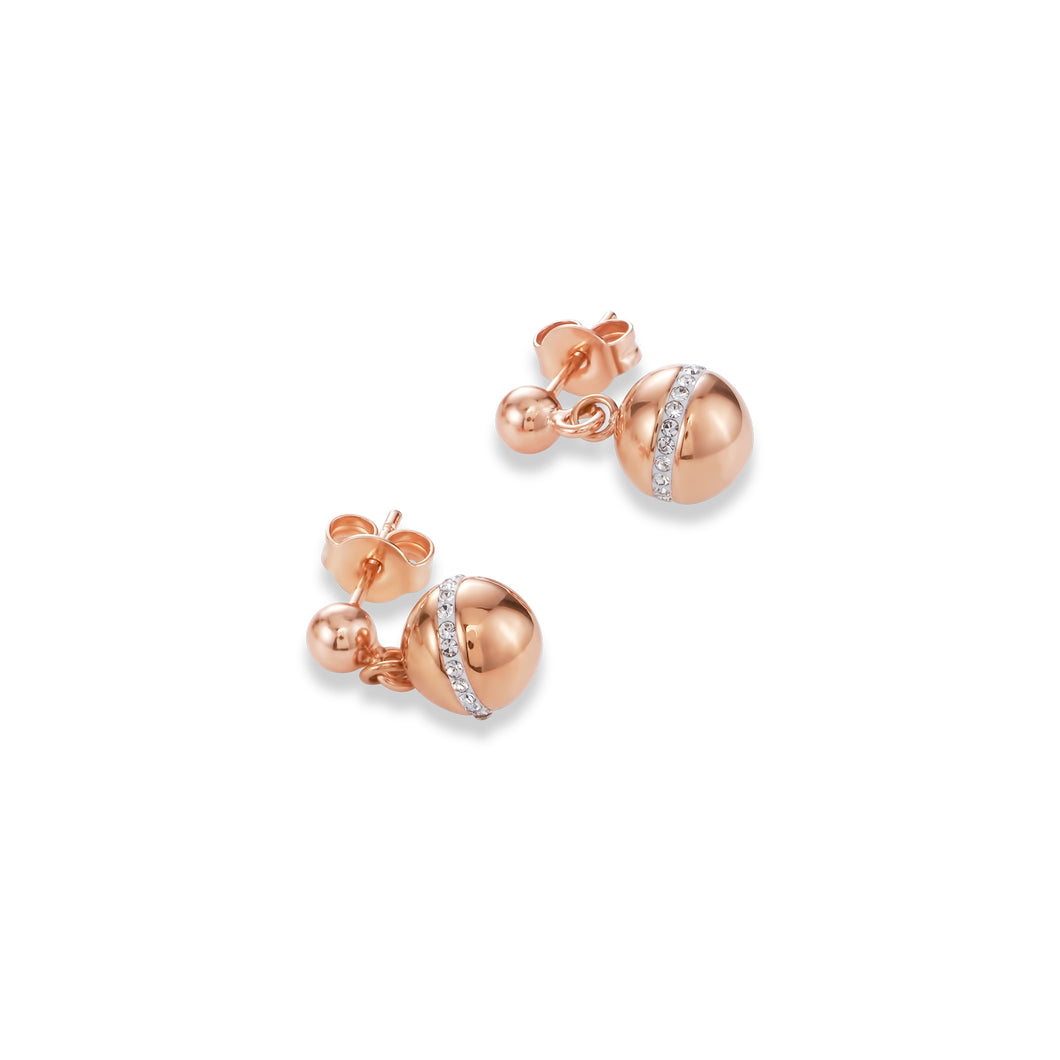 Coeur De Lion Earrings Twisted Pearls stainless steel rose gold