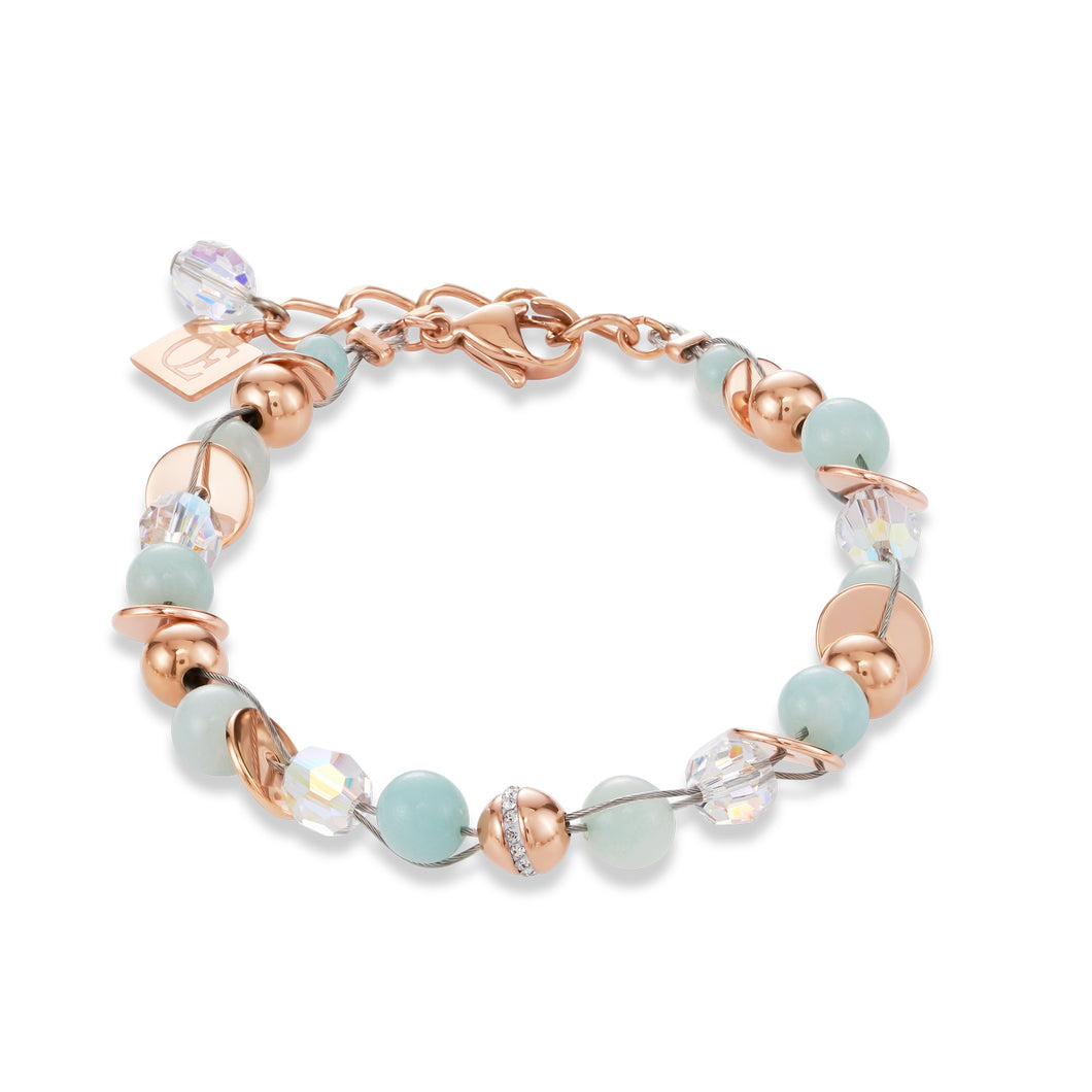 Coeur De Lion Bracelet Twisted Pearls Amazonite & stainless steel rose gold mint green