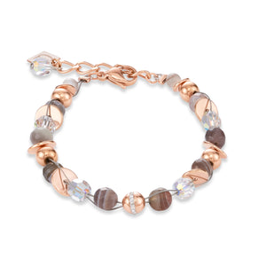 Coeur De Lion Bracelet Twisted Pearls Botswana agate & stainless steel rose gold beige-grey