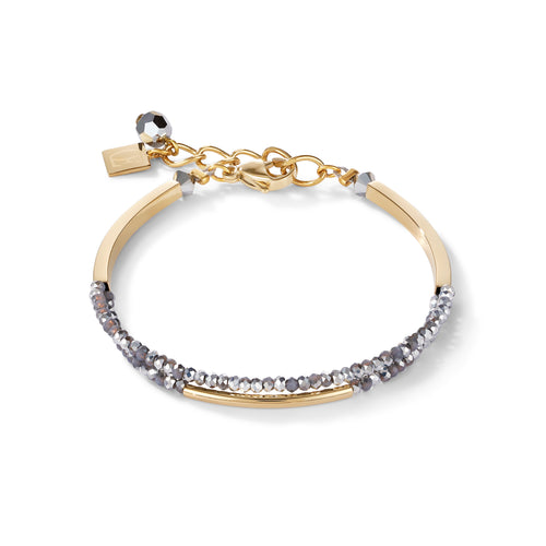 Coeur De Lion Bracelet Waterfall Small Stainless Steel Gold & Glass Silver