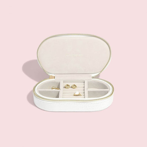 Stackers Mock Croc Oval Chalk White Travel Box