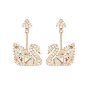 Swarovski Iconic Swan Facet Earring Jacket, Rose Gold