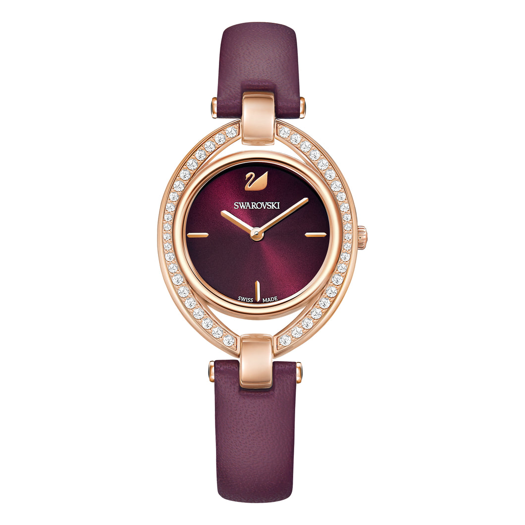 Swarovski Stella Watch, Leather strap, Dark red, Rose-gold tone PVD