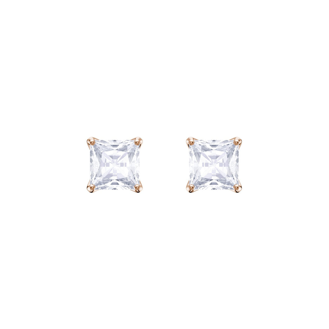 Swarovski Attract Stud Earrings, White, Rose gold plating