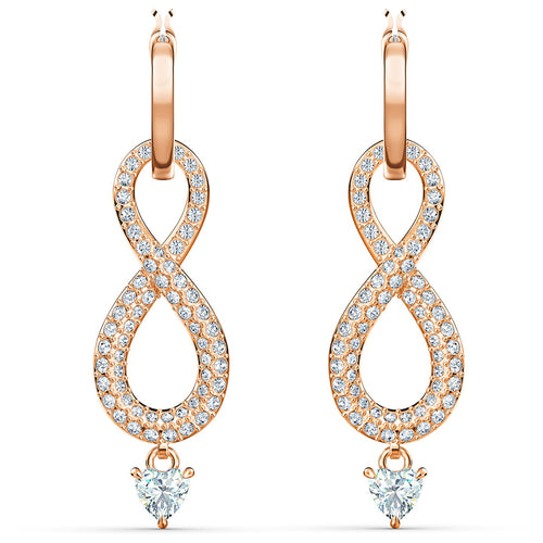 Swarovski Infinity Drop Earrings Rose Gold Tone