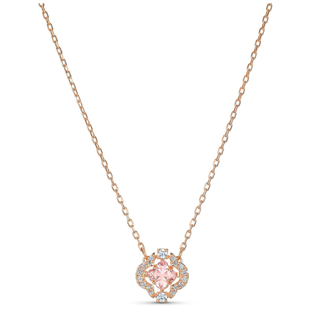 Swarovski Sparkling Dance Clover Necklace Rose Gold Tone, Pink