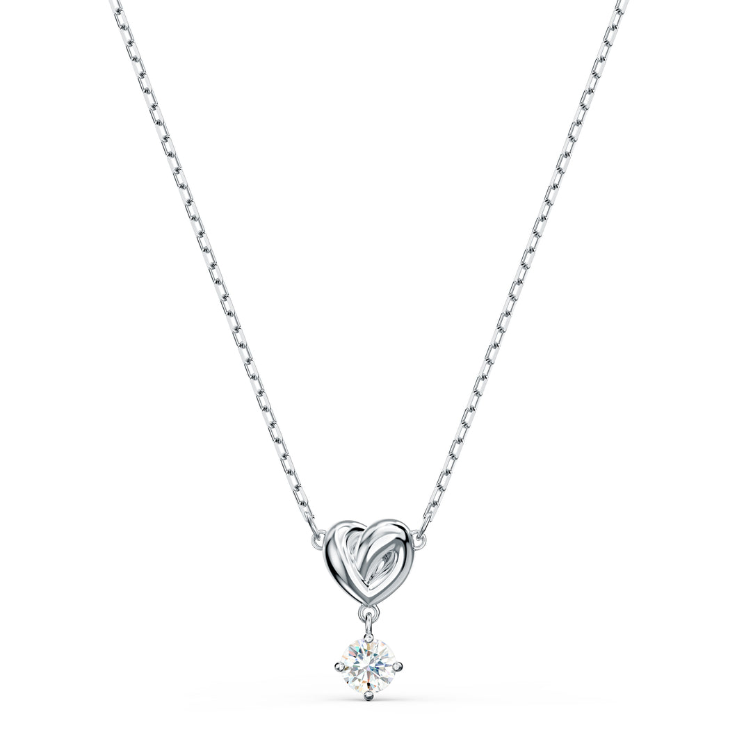 Swarovski Lifelong Heart Necklace, White, Rhodium Plating