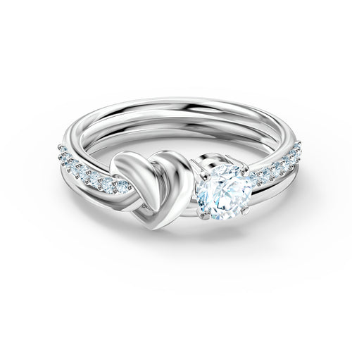 Swarovski Lifeflong Heart Ring, Rhodium Plated