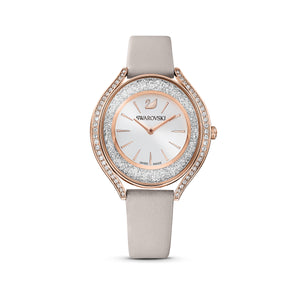 Swarovski Crystalline Aura Watch, Leather strap, Grey, Rose-gold tone PVD